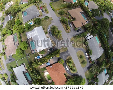 Residential neighborhood streets in Florida seen from above