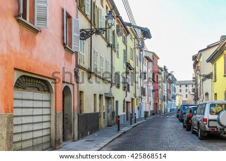 Residential quarter in Parma, Emilia Romagna region, Italy. - stock photo