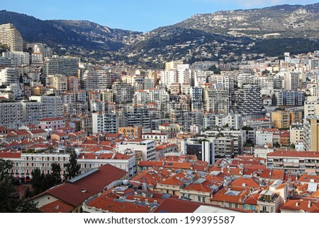 Residential skyscrapers and buildings in Moneghetti district Monaco