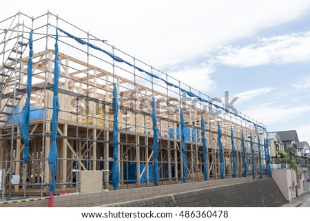 Residential two-story wooden apartment construction site