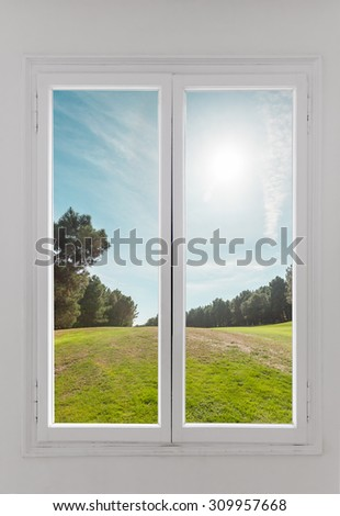 Residential window with trees and sky behind