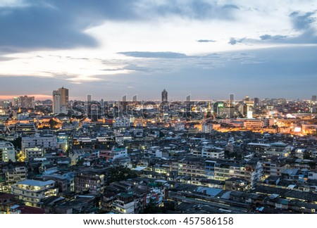 Residential zone at twilight, View Point on a Sky at the top floor condominium, Bangkok, Thailand