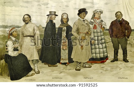 "Residents of the Baltic region: Lithuanians, Estonians, Latvians, Germans - an illustration of the Encyclopedia ""Russia in pictures"", publisher Dumnov, Moscow, Russia, 1906"