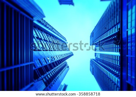 Residentual Building in Hong kong from ground view - stock photo