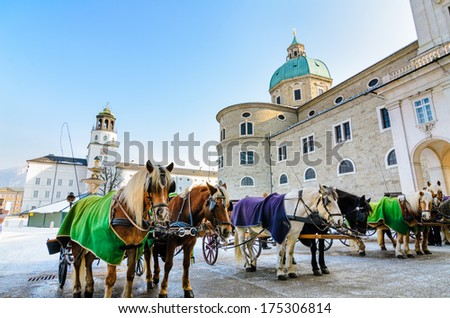 Residenzplatz with the Cathedral in Salzburg, Austria - stock photo