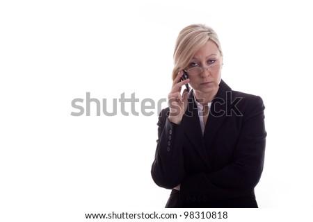 resigned secretary with phone - stock photo