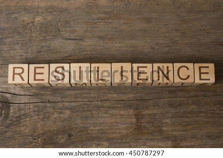 RESILIENCE word on wooden cubes