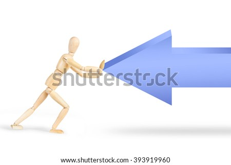 Resistance to external power. Conceptual image with a wooden puppet stopping an arrow - stock photo