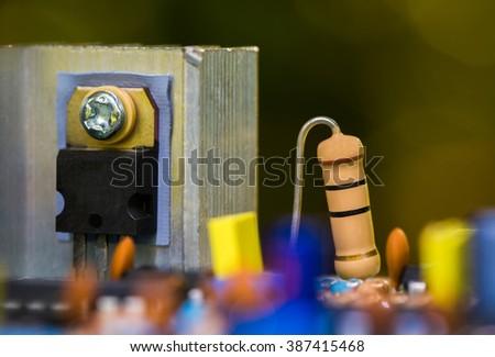 resistors,capacitor,Shot of integrated circuit board. - stock photo