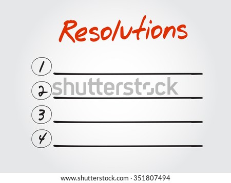 RESOLUTIONS blank list, business concept background - stock photo