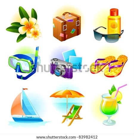 Resort and tropical travel set of object and symbols. (Vector version of this work is available in my portfolio: # 47565304) - stock photo