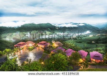 resort at mountain top view - stock photo