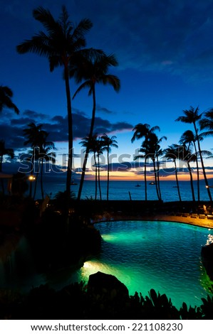 Resort at sunset on the island of Maui in Hawaii, USA - stock photo