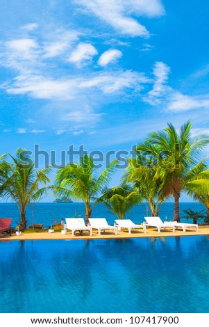 Resort Relaxation Swimming Space - stock photo
