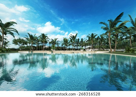 Resort style Large swimming pool in a tropical setting. Photo realistic 3d rendered scene.