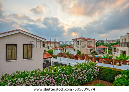 Resort village on Cyprus sea coast  in sunset light