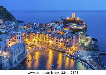 Resort village Vernazza, Cinque Terre, Italy  - stock photo