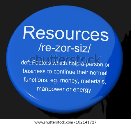 Resources Definition Button Shows Materials Assets And Manpower For A Business