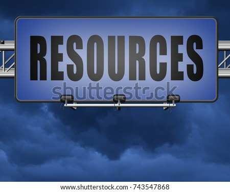 Resources human or natural resource road sign billboard 3D, illustration