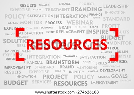 RESOURCES word business concept on red target sign - stock photo