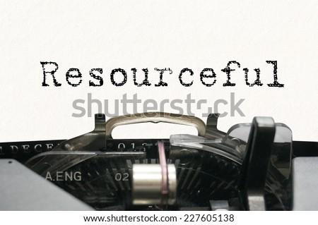 Resourseful on typewriter - stock photo