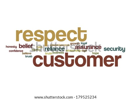Respect customer word cloud - stock photo