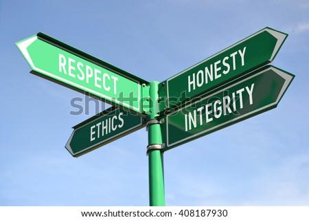 Respect, honesty, ethics, integrity signpost - stock photo