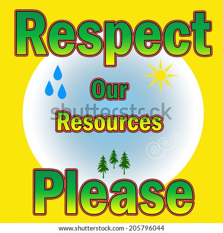respect resources poster globe with nature symbols illustration - stock photo