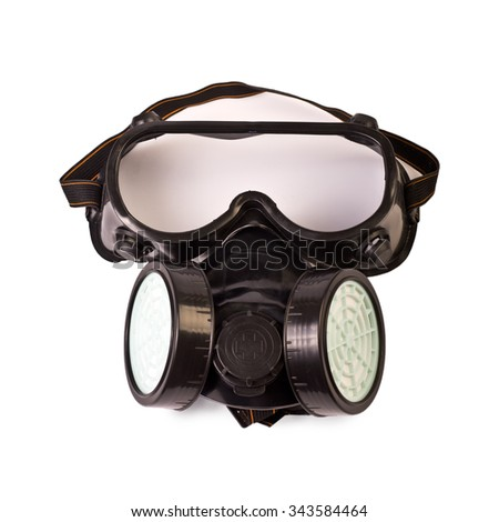 Respirator and Protective Goggles isolated on white - stock photo