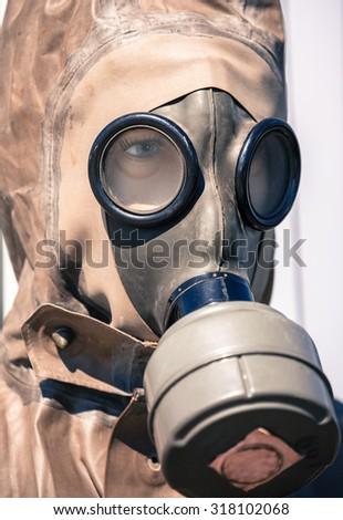 Respirator - gas helmet - stock photo