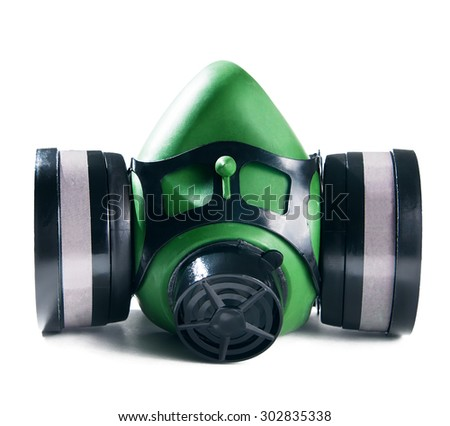 respirator isolated on white - stock photo