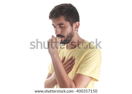 Respiratory disease. Young man coughing on white background - stock photo