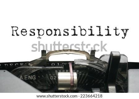 Responsibility on typewriter - stock photo