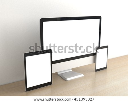 Responsive computer devices on desk isolated blank screen for mockup design advertising. PC display, tablet gadget, minitab or smartphone on table office. Clean white wall background. 3d rendering