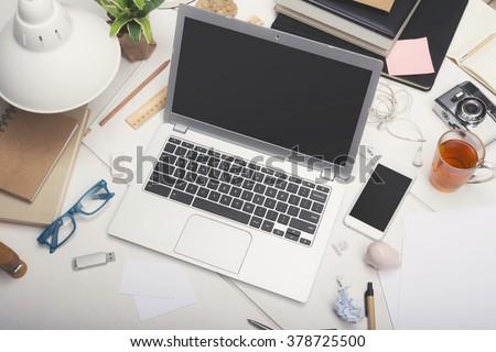 Responsive design office mockup - stock photo