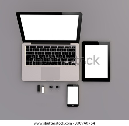 responsive mock-up: zenith view of laptop, tablet and touchscreen smartphone. 3D generated. - stock photo