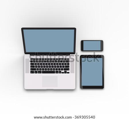 Responsive mockup of a laptop, digital tablet and smart phone. Clipping paths for all displays included.