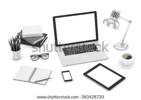 Responsive mockup screens. Laptop, tablet, phone on table  - stock photo