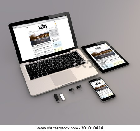 Responsive news site: Open laptop with digital tablet and smartphone. 3d Generated. All screen graphics are made up. - stock photo