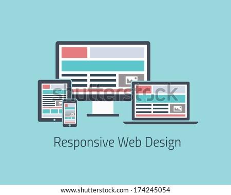 Responsive web design development in flat style JPG.  - stock photo