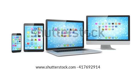 Responsive web design, laptop, smartphone, tablet, computer, display. 3d rendering. - stock photo