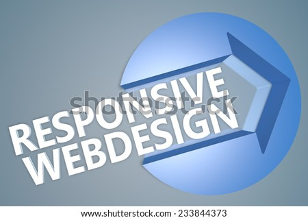 Responsive Webdesign - 3d text render illustration concept with a arrow in a circle on blue-grey background
