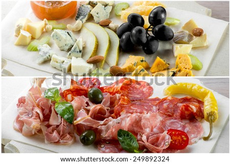 Resraurant assorted cheese and meat on wooden plate - stock photo