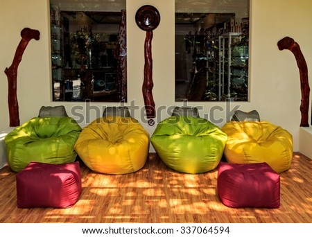Rest zone in the tropical hotel Ranveli. Maldives The Indian Ocean - stock photo