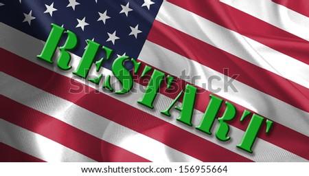 RESTART Text Message on Flag - stock photo