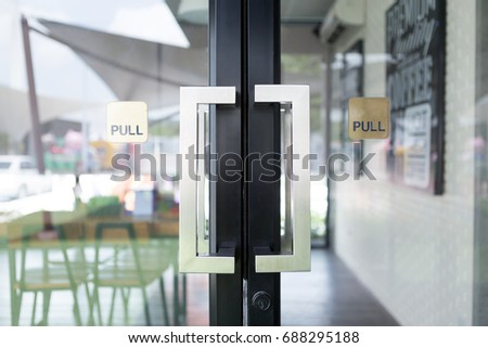 Restaurang door handle with pull sign on glass doors & Pull Door Stock Images Royalty-Free Images \u0026 Vectors | Shutterstock Pezcame.Com