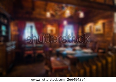 Restaurant abstract blur background with bokeh image - stock photo