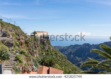 Restaurant and vantage point, the Mirador Degollada de Peraza on the way to San Sebastian de la Gomera on the canary island La Gomera. Incredible overview to Canyons on the island