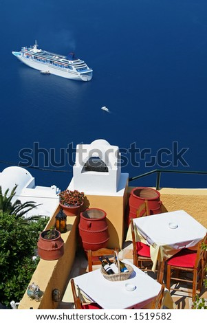Restaurant at Santorini Island, Greece - stock photo