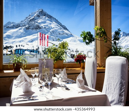restaurant at the european alps in winter